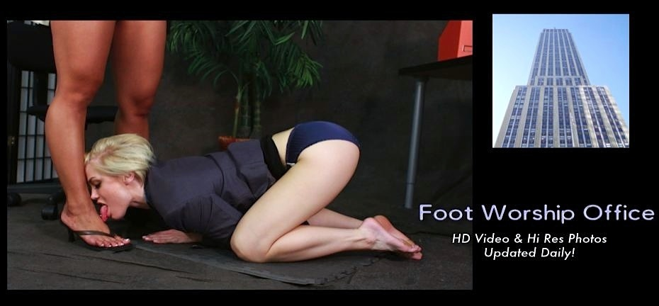Dani Jensen kneels before boss Lana Violet Feet